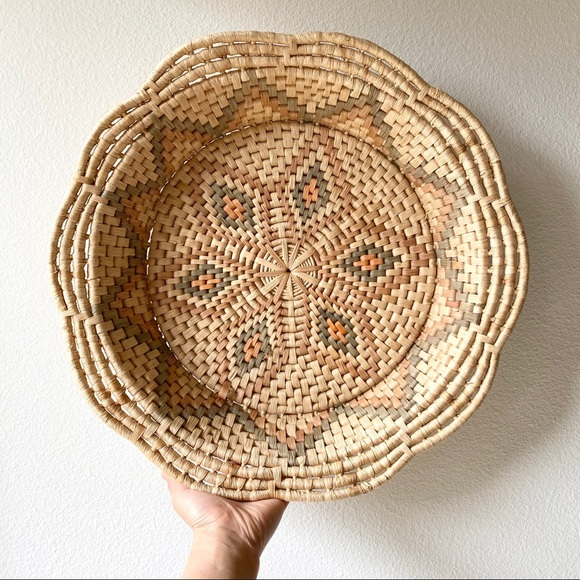 Vintage Other - Vintage Round Boho Woven Tray Basket